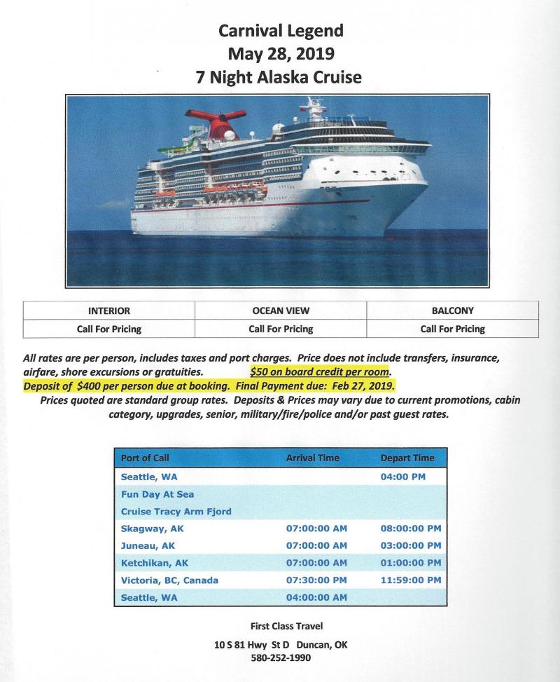 First Class Travel - Group Cruises updated 5/18/18